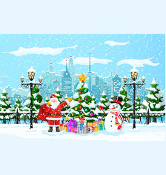 Christmas winter cityscape vector