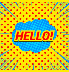 comic hello wording template vector image