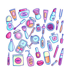 Cosmetics hand drawn set vector