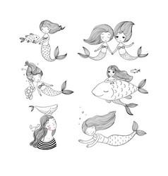 cute cartoon mermaids sirens marine theme vector image