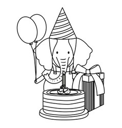 cute elephant in birthday party vector image