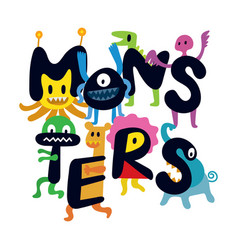 Cute monsters cartoon characters vector