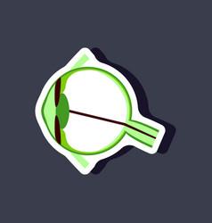 Eye paper sticker on stylish background vector
