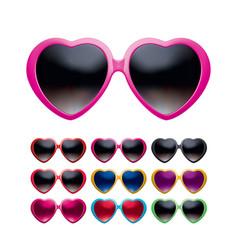 eyeglasses heart shape set isolated realistic 3d vector image