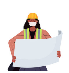 Female engineer architect with blueprint wearing vector