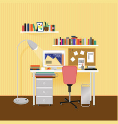 flat designer workplace concept vector image