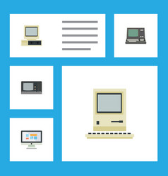 flat icon laptop set of technology computer vector image