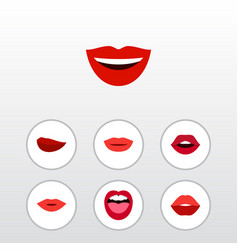 flat icon lips set of smile teeth lipstick and vector image