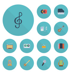 flat icons banjo tape harmonica and other vector image