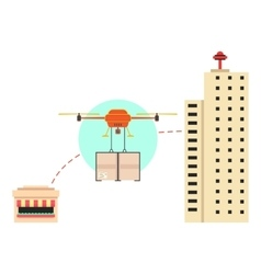food delivery in town with drone vector image