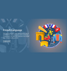 French language banner horizontal cartoon style vector