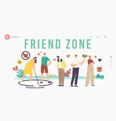 Friend zone landing page template male fall in vector