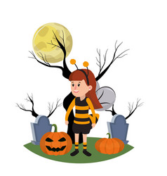 Girl with bee costume and trees branches vector