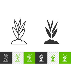 grass simple black line icon vector image