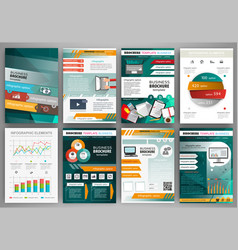 green and orange business brochure template with vector image