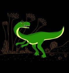 Green carnivore dinosaur vector