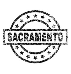Grunge textured sacramento stamp seal vector