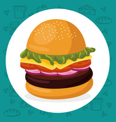 hamburger fast food menu vector image