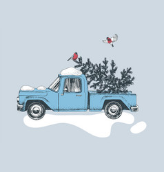 hand drawn card with blue truck and christmas tree vector image