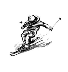 Ink sketch skier vector