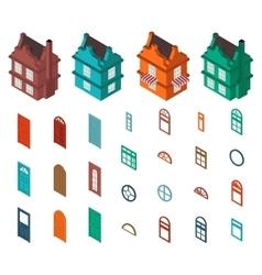 isometric set designer house vector image
