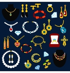 Jewelry and gems flat icons vector