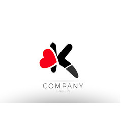 K alphabet letter logo icon with love heart vector
