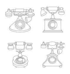 Line set of retro vintage phones vector