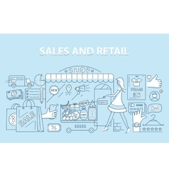 Line style design concept of retail commerce and vector image