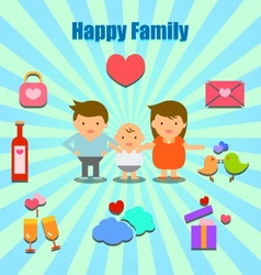 Lovely couple and family info graphic icons vector
