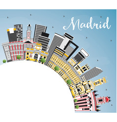 madrid spain city skyline with gray buildings vector image