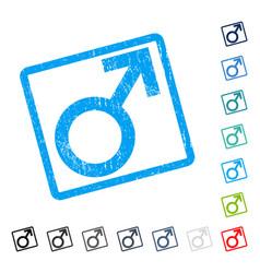 male symbol icon rubber watermark vector image