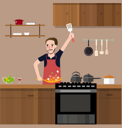 Man in kitchen cooking stir fry preparing food vector