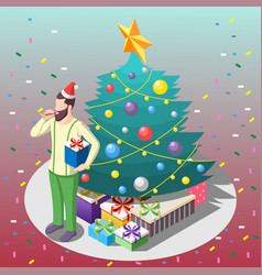 man with gifts isometric composition vector image