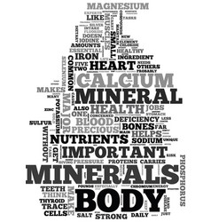 Minerals the precious elements of your body text vector