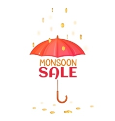 Monsoon salle banner with umbrella vector image