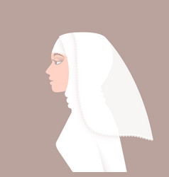 Muslim bride in wedding dress and veil vector