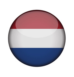 netherlands flag in glossy round button of icon vector image