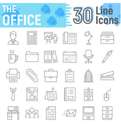 office thin line icon set business signs vector image