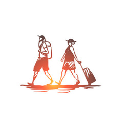 old couple travel trip luggage concept hand vector image