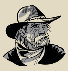 Old cowboy with a hat portrait digital sketch vector