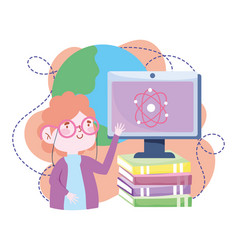 Online education teacher computer explain class vector