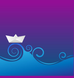 paper boat with wave vector image