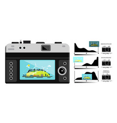 Photo camera back side with histogram graphs vector