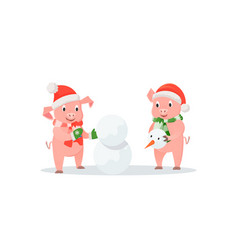 pigs building snowman new year and christmas vector image