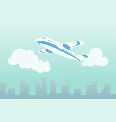 plane in clouds over city air travel vector image