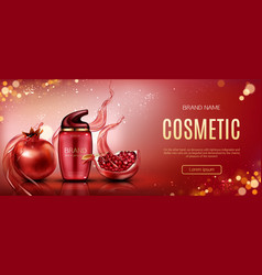 pomegranate cosmetic bottle mock up beauty banner vector image