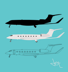 Private jetliner flat style vector