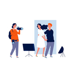 professional photo session young couple or vector image