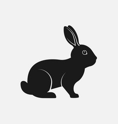 rabbit black silhouette farm animal icon vector image